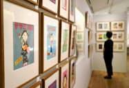 開館を前に公開された「長谷川町子記念館」で展示されているサザエさんの原画(9日午前、東京都世田谷区)=共同
