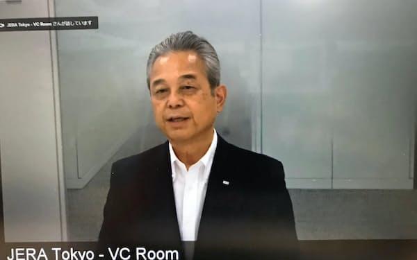 都内で開かれた定例会見に登壇したJERAの小野田社長