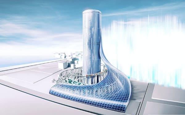 夢洲で開発を計画しているタワービル(2018年時点の完成イメージ)