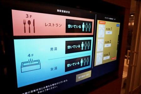 客室のテレビ画面で、レストランや大浴場の混雑情報が確認できる