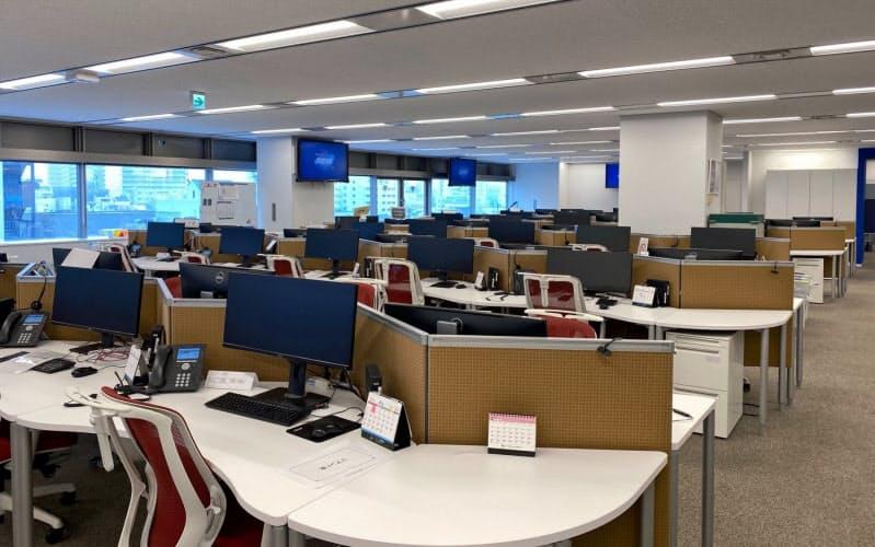 すでに在宅勤務を導入したチューリッヒ保険会社のコールセンターは人けがない(東京・中野の同社コールセンター)