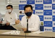 会議で発言する岩手県の達増拓也知事(10日、岩手県庁)