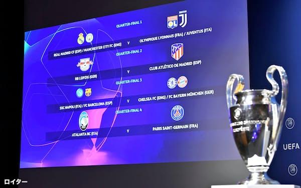 欧州CLの準々決勝以降の組み合わせ抽選がスイスのニヨンで行われた(10日)=ロイター