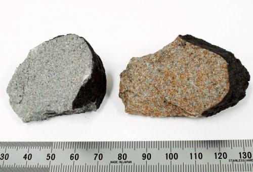 「習志野隕石」の2個の破片。きれいに合う断面がある(国立科学博物館提供)