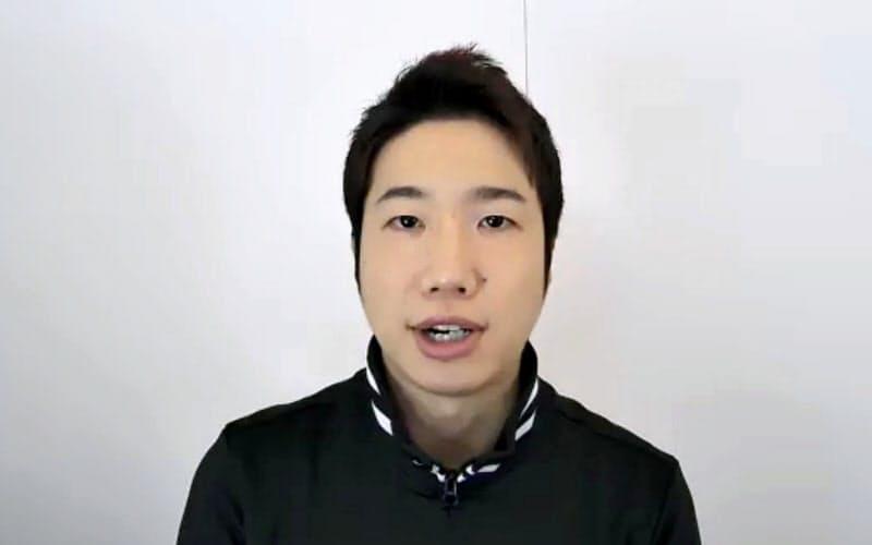 オンラインで取材に応じる卓球男子の水谷隼(13日)=共同