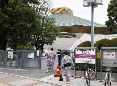 大相撲7月場所について協議する臨時理事会が開かれた両国国技館(13日午後、東京都墨田区)=共同