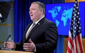 ポンペオ米国務長官は南シナ海問題で中国批判を強める(写真は8日、ワシントン)=ロイター