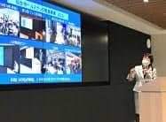 仙台市ヘルステック事業のキックオフイベントで説明する郡和子市長(14日、仙台市)