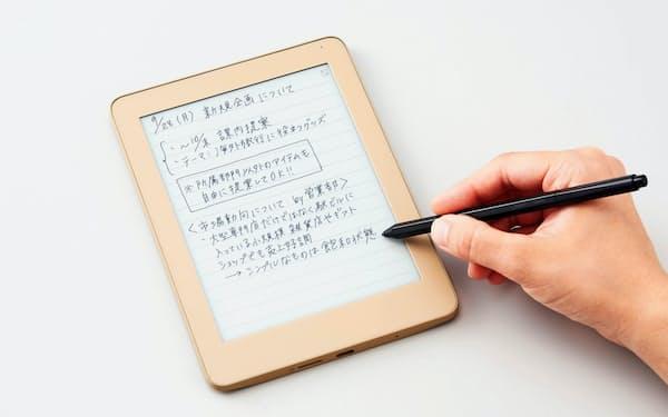 キングジムが発売する電子ノート。筆圧を検知する機能が付いたペンで、紙の書き心地に近づけた