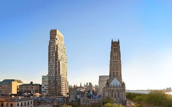 大和ハウスがマンハッタンで開発するマンションの外観イメージ(左の高い建物)