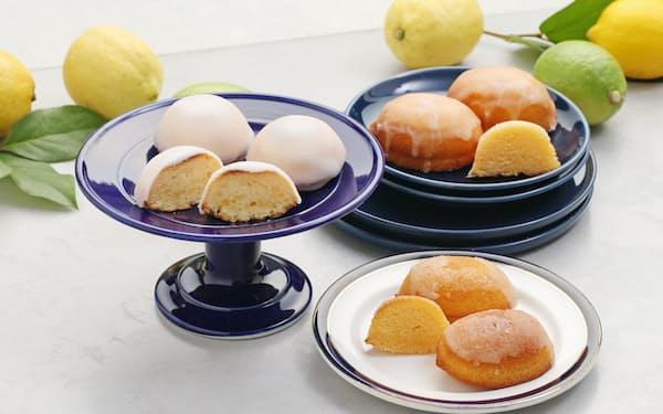 左から時計回りに1位リムヴェール コウジ・タカヤマ「レモンケーキ」、2位スイーツガーデンコパン「島檸檬」、3位ベークアンドケーキ ぱふ「レモンケーキのレモンちゃん」
