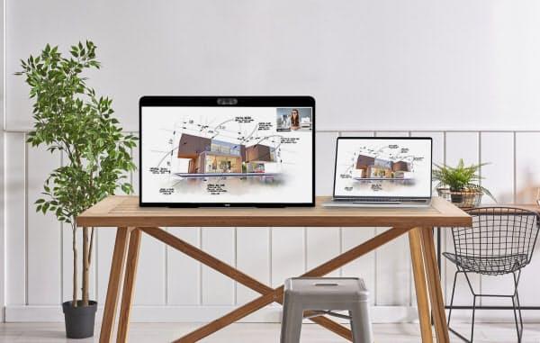 ズームは家でのビデオ会議に特化した端末(写真左)を8月に発売する=同社提供