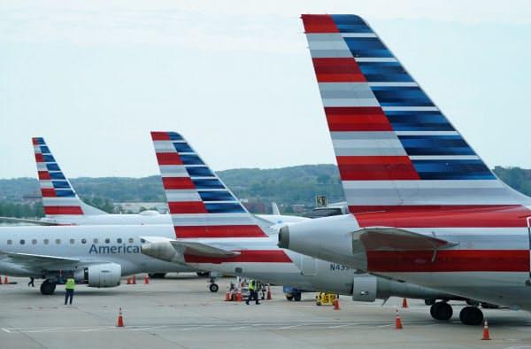 最大手のアメリカン航空も人員削減に動く(4月、ワシントン)=ロイター