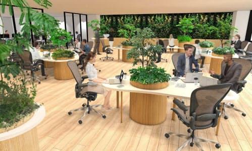 緑化された空間に音響効果も加え、仕事に集中できるようにする