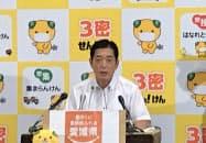 政府の観光喚起策に警戒感を示した愛媛県の中村知事(16日、県庁)