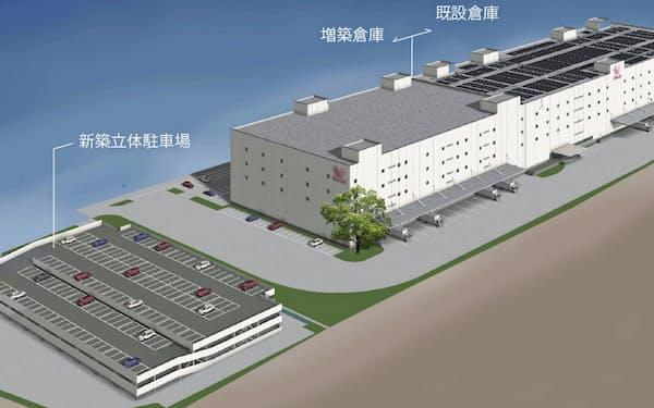 6割増床する物流センター(滋賀県守山市)の完成予想図