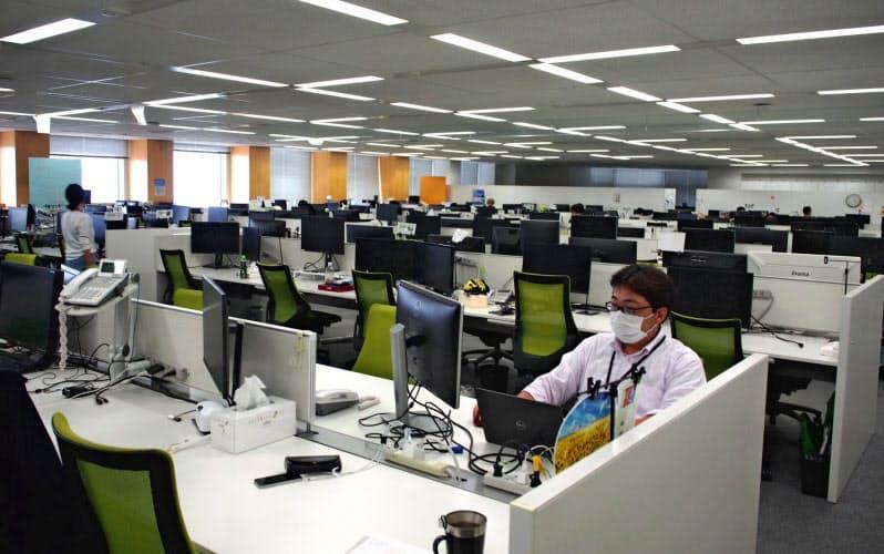テックファームはフレックス制と専門業務型裁量労働制を組み合わせて在宅勤務を可能にしている(東京都新宿区の本社)