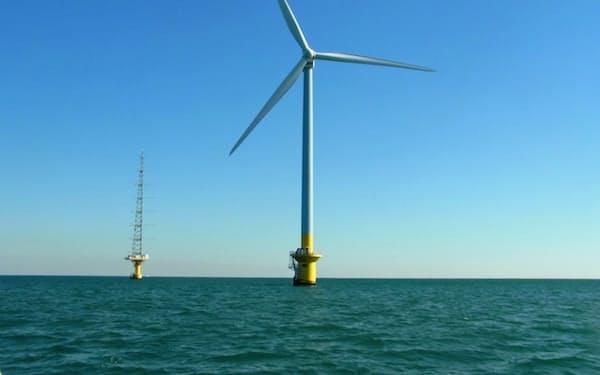 東京電力ホールディングスが運営する千葉県銚子沖の洋上風力発電設備