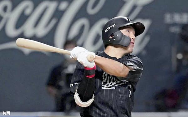 7月18日に今季2号のソロ本塁打を放った安田。昨年は1軍出場がなかったが、開幕から出場機会を得ている=共同