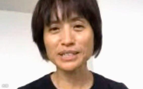 オンラインで取材に応じるサッカー女子日本代表の高倉麻子監督(20日)=共同
