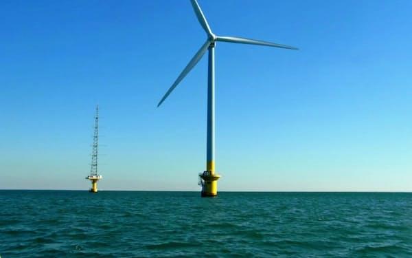 千葉県銚子市沖にある東京電力ホールディングスの洋上風力発電設備