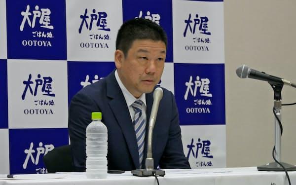 大戸屋HDの窪田健一社長はコロワイドのTOBへの反対意見を表明した(20日、東京都中央区)