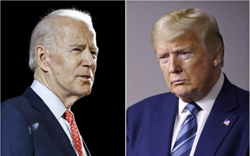 民主党の大統領候補指名を固めたバイデン前副大統領(左)は、トランプ大統領の対中政策が「やわ」であるとしか批判していない=AP