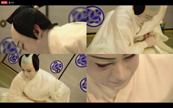 松竹は歌舞伎のオンライン配信で画面を4分割する表現を取り入れた。(C)松竹