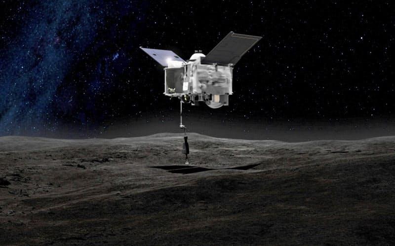 小惑星ベンヌに着陸し、砂などを採取する米探査機オシリス・レックスのイメージ=NASA提供