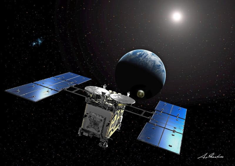 カプセルを地球に投下する「はやぶさ2」のイメージ=JAXA、池下章裕氏提供
