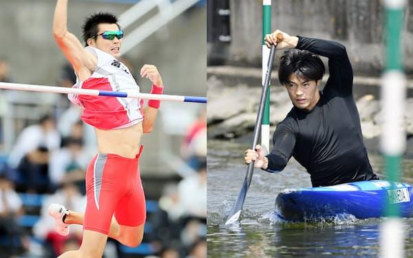 沢野大地選手(左)と羽根田卓也選手