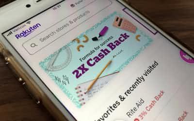 米国でも日本と同様に「キャッシュバック」で消費者の囲い込みを目指す(楽天の米国のスマートフォンアプリ)
