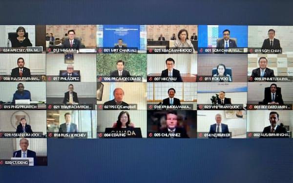 25日の貿易相会合はテレビ会議方式で開かれた(APECのホームページより)