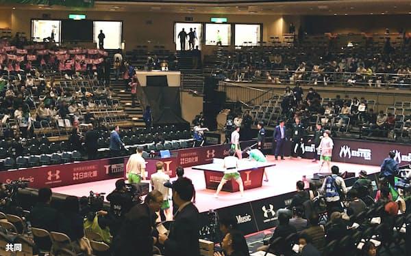 Tリーグは3月に予定されていた2019~20年シーズンのファイナルが中止になった(東京・両国国技館で行われた昨年のファイナルの様子)