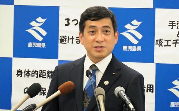 就任会見に臨む鹿児島県の塩田知事