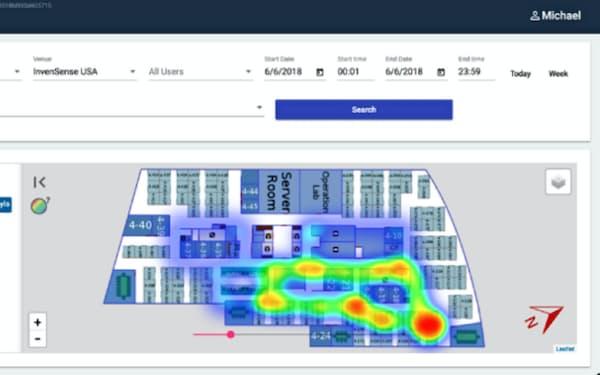 利用者の位置情報を取得してオフィス内の混雑状況を把握できる(開発段階のイメージ図)