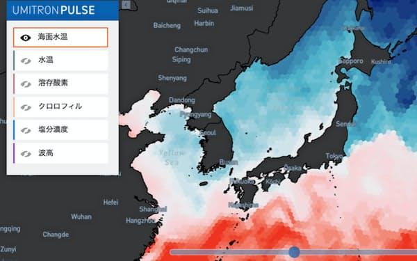 「ウミトロンパルス」では海水温や塩分濃度などの海洋データを確認できる