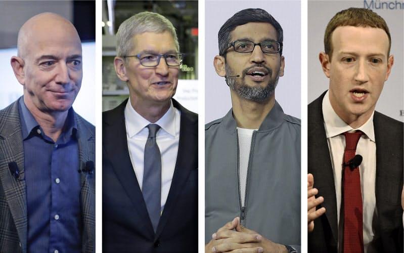 米IT大手4社の首脳(左からアマゾンのベゾス氏、アップルのクック氏、グーグルのピチャイ氏、フェイスブックのザッカーバーグ氏)=AP