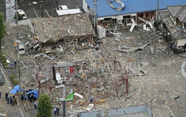 爆発があった現場(30日午前、福島県郡山市)=共同