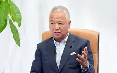 NikkeiFinancialのオンラインセミナーで講演する自民党の甘利税調会長(30日、東京・大手町)