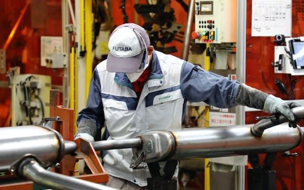 フタバ産業は車用マフラーが主力商品だ(愛知県幸田町)
