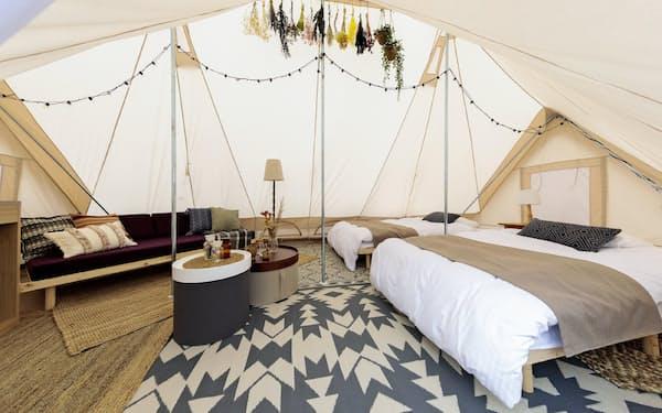 県内では珍しいテント室「GRACE TENT」が1番人気だ