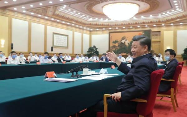 7月21日に開かれた習近平国家主席と企業経営者との会合(中国政府のサイトから、新華社撮影)