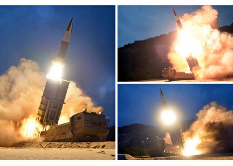 北朝鮮のミサイル能力は急速に向上している(2019年8月10日の飛翔体発射に関連して北朝鮮メディアが公開した写真)=労働新聞ウェブサイトから