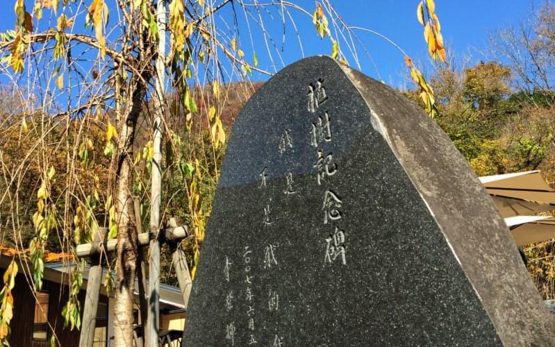 来日時の投宿で李登輝氏が植樹した枝垂れ桜と「我是不是我的我(私は私でない私である)」という揮毫(きごう)を刻んだ碑(秋田県仙北市の温泉宿「都わすれ」で)