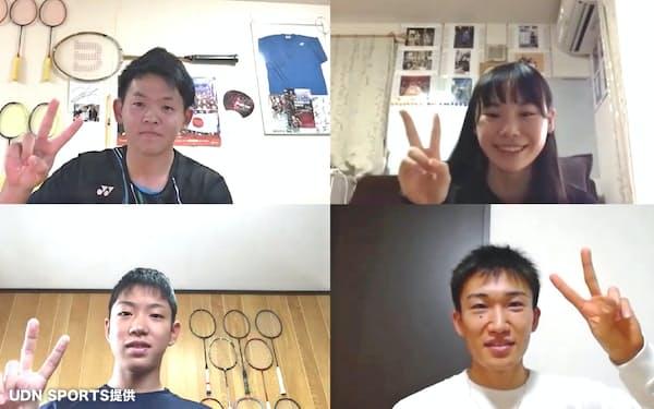 桃田(右下)は地元香川県の子供たちとオンライン上で交流した(UDN SPORTS提供)