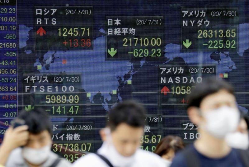 積み立て投資は相場の急落局面でも買い続けることで平均購入単価が下がる利点があるが、弱点もあることを知っておきたい(写真は7月31日に急落した12bet国际平台平均株価などを示す東京・八重洲の株価ボード)=共同