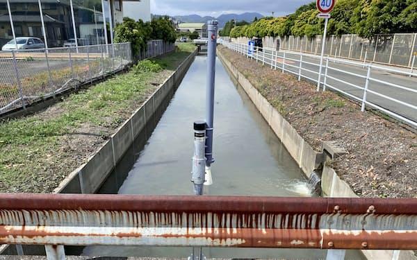 水位計は市内の12の河川に設置している(静岡県藤枝市内)