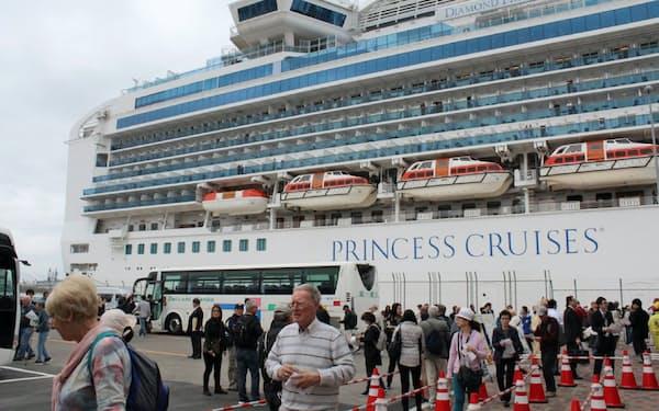 秋田県内へのクルーズ船寄港はゼロになった(2018年4月、秋田港に寄港したダイヤモンド・プリンセス)