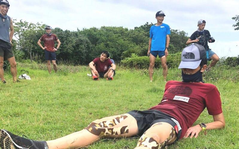 「チーム100マイル」のメンバーと4カ月ぶりに一緒の練習